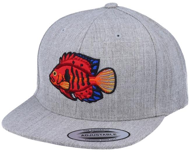 Kids Flame Angel Fish Heather Grey Snapback - Kiddo Cap