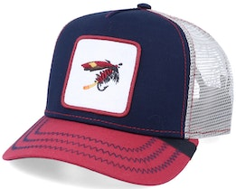 Connemara Fishing Fly Patch Navy/Red/Beige Trucker - Iconic