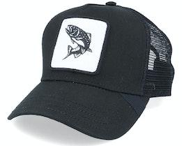 Black Trout Fish Patch Black Trucker - Hunter