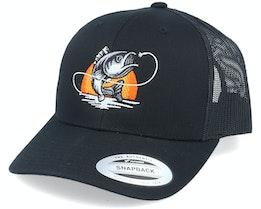 Sunset Fish Logo Black Trucker - Hunter