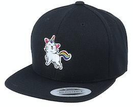 Kids Unicorn Kitty Black Snapback - Unicorns