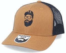 Cap Man Retro 2 Tone Caramel/Black Trucker - Bearded Man
