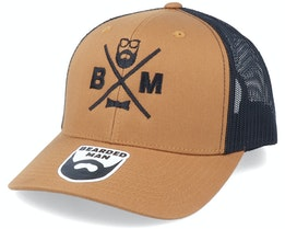 Bm Cross Retro 2 Tone Caramel/Black Trucker - Bearded Man