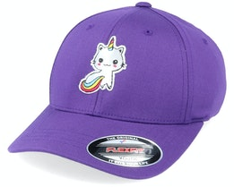 Kids Silver Applique Unicorn Purple Flexfit - Unicorns
