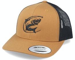 Oval Fishing Logo Retro Caramel Trucker - Hunter