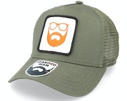 Logo Patch Olive Trucker - Bearded Man