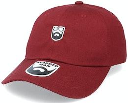 Badge Logo Maroon Dad Cap - Bearded Man