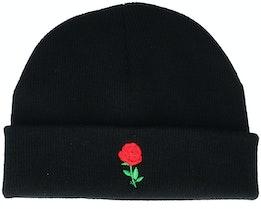 Tiny Red Rose Black Short Beanie - Iconic