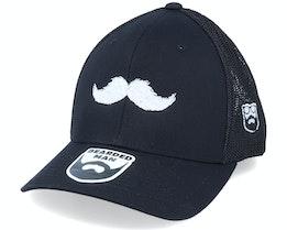 White Moustache Movember Black Trucker Flexfit - Bearded Man