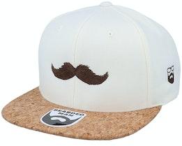 Brown Moustache Movember Natural/Cork Snapback - Bearded Man