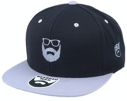 Wild Beard Movember Black/Silver Snapback - Bearded Man