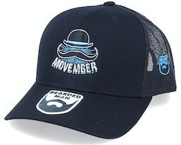 Movember Hat Logo Black Trucker - Bearded Man