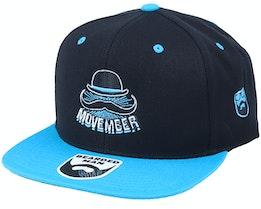 Movember Hat Logo Black/Teal Snapback - Bearded Man