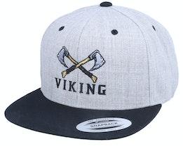 Axe Cross Logo Heather Grey/Black Snapback - Vikings