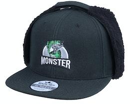 Monster Bass Fishing Logo Black Earflap - Hunter