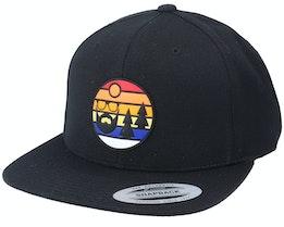 Sunset Logo Rubber Patch Black Snapback - Bearded Man